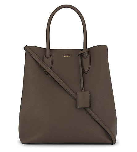 MAX MARA Grained leather shoulder bag (Turtledove