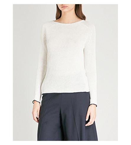 S MAX MARA Cable-knit linen jumper (White