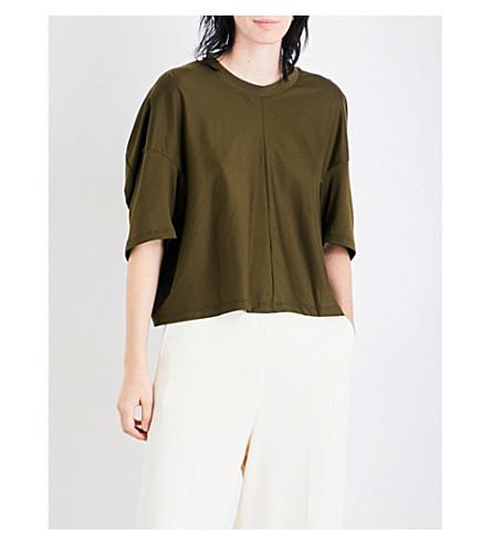 SPORTMAX Girotta ruched cotton-jersey T-shirt (Khaki
