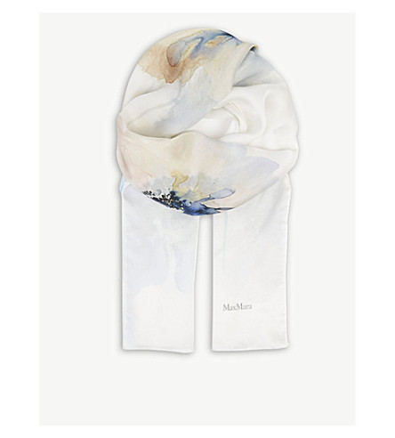 MAX MARA Watercolour flower silk scarf (Natural