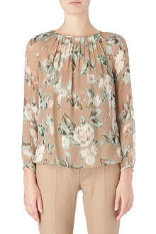 MAX MARA Rose print silk blouse