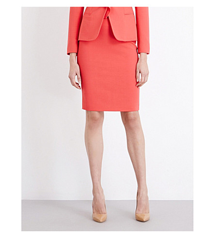 MAX MARA Graz stretch-wool pencil skirt (Coral