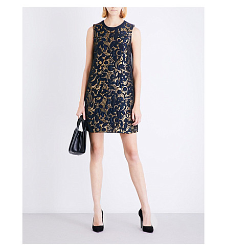 S MAX MARA Grolla floral-jacquard mini dress (Gold