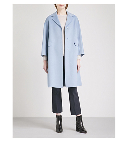 S MAX MARA Grolla virgin wool coat (Light+blue