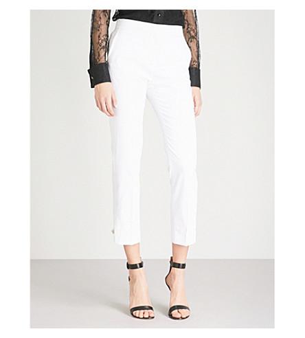 MAX MARA Guglia straight-leg cotton-blend trousers (Optical+white