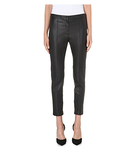 SPORTMAX Harold cropped leather trousers (Black