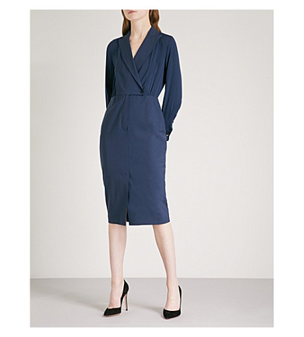 MAX MARA Harold wool-blend wrap dress (Navy