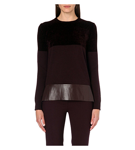 SPORTMAX Leather-panelled knitted jumper (Burgundy