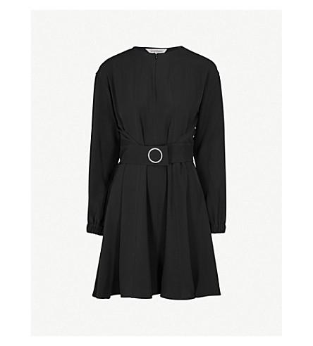 SPORTMAX Jabot belted silk dress (Black