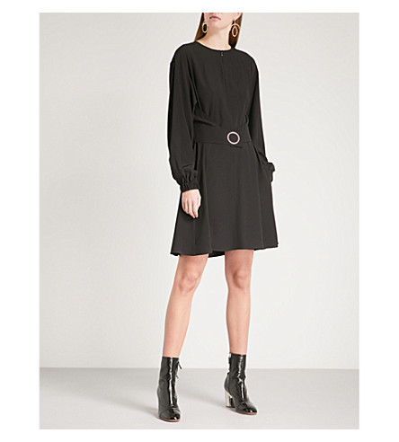 SPORTMAX Jabot belted silk dress (Black
