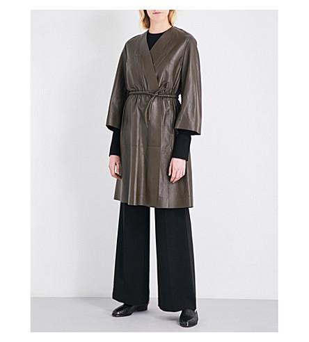 SPORTMAX Jago leather wrap coat (Khaki
