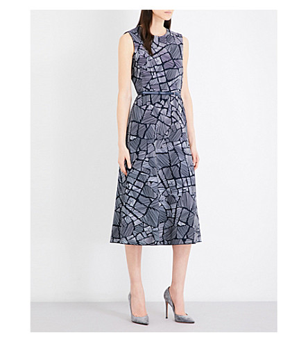 MAX MARA Jasmine patterned stretch-crepe midi dress (Navy