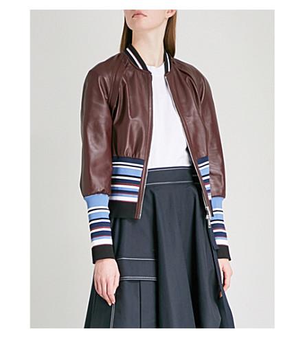 SPORTMAX Juditta leather bomber jacket (Bordeaux