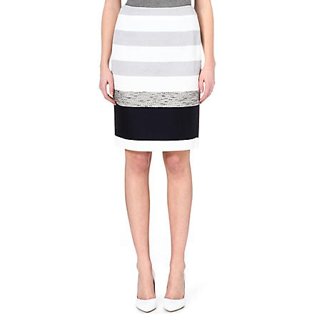 MAX MARA Kabul striped crepe skirt (Ivory/ grey