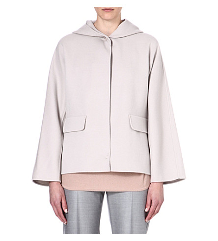 MAX MARA Hooded wool-blend coat (Sand