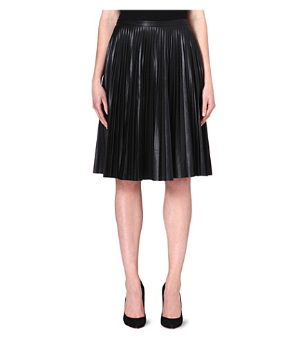 MAX MARA STUDIO Larix faux-leather pleated skirt (Black