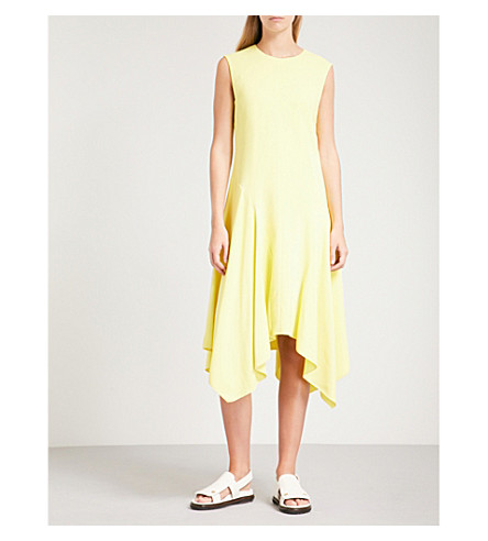 SPORTMAX Laser asymmetric-hem crepe dress (Lemon