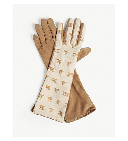 MAX MARA 标识皮革和绒面革手套 (米色