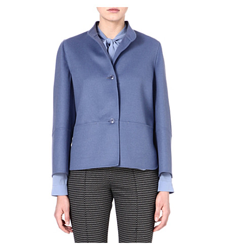 MAX MARA Lecco wool and angora-blend jacket (Blue