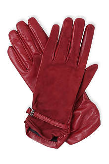 MAX MARA Leather and suede contrast gloves
