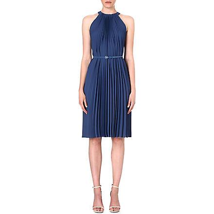 MAX MARA Pleated crepe dress (Blue