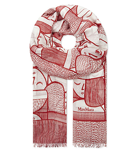 MAX MARA Lino modal and silk-blend scarf (Red