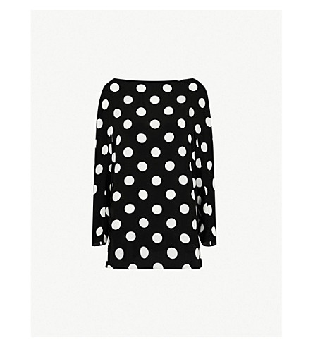 SPORTMAX Lupin silk top (Black and white