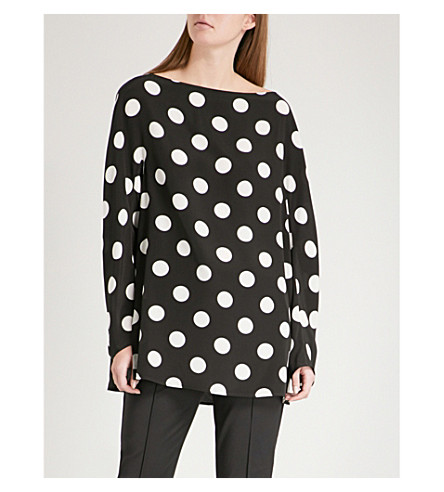 SPORTMAX Lupin silk top (Black+and+white