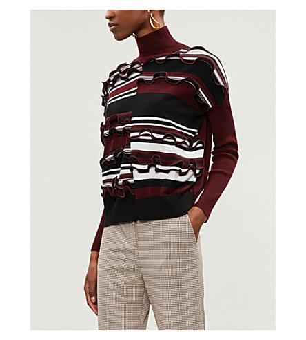 SPORTMAX 麦迪逊条纹竖起羊毛混纺高领衫毛衣 (葡萄酒 + 彩色