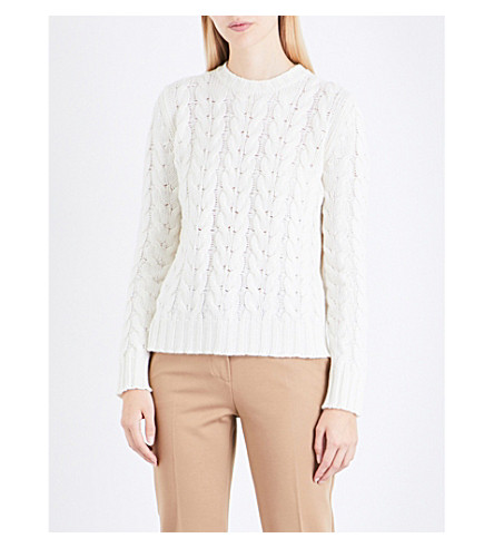 MAX MARA Maestro cable-knit wool and cashmere-blend jumper (Ivory