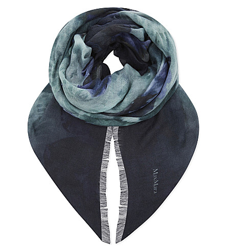 MAX MARA Floral print wool, silk and cashmere-blend scarf (Navy