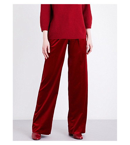 MAX MARA Mantoba wide high-rise velvet trousers (Red