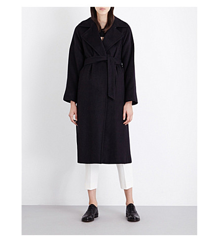 MAX MARA Manuela camel-hair wrap coat (Navy