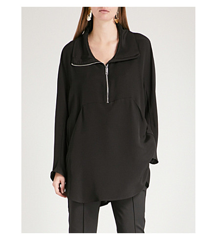 MAX MARA Maser half-zip silk top (Black