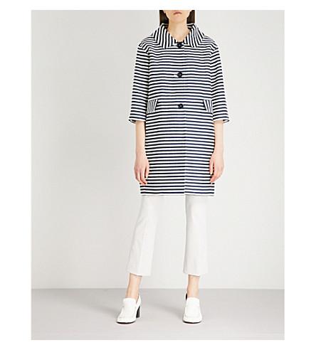 S MAX MARA Mastro striped cotton coat (Navy+stripe
