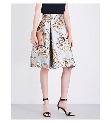 MAX MARA ELEGANTE Mastro floral-jacquard skirt (Light+blue