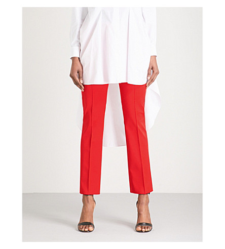 SPORTMAX Meandro mid-rise stretch-cotton trousers (Red
