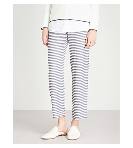 S MAX MARA Striped high-rise woven trousers (Navy+stripe