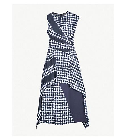 SPORTMAX Medium asymmetric cotton dress (Midnight blue