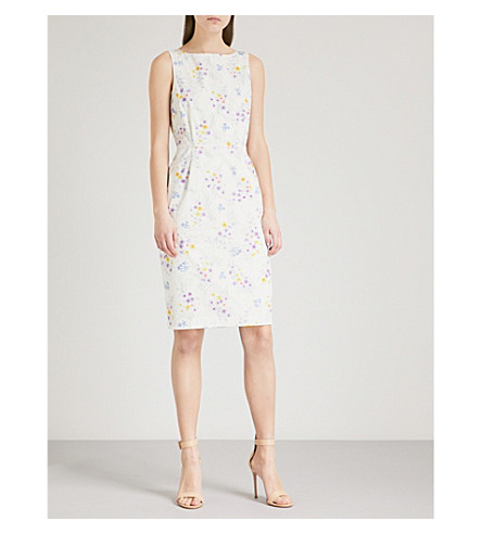 MAX MARA Floral-print cotton dress (Yellow+lavender+print