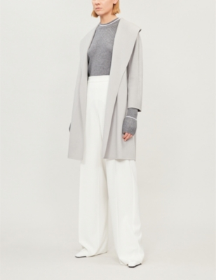 Messi Wool Wrap Coat in Light Grey