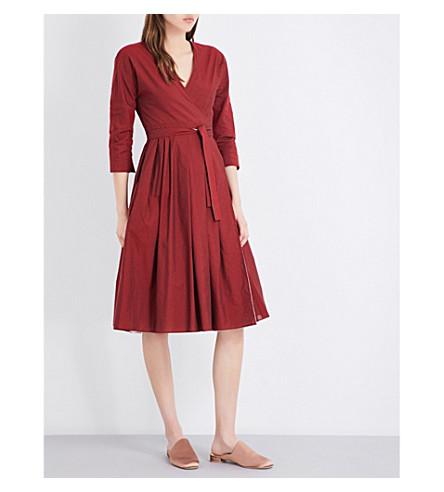 S MAX MARA Miretta reversible cotton-blend dress (Red+pink