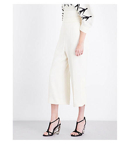 SPORTMAX Flared crepe trousers (Ivory