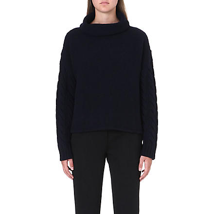 MAX MARA Mogan turtleneck wool and cashmere-blend jumper (Navy
