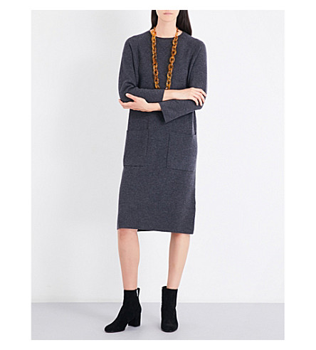 S MAX MARA Monia pocket-detail wool-blend midi dress (Grey