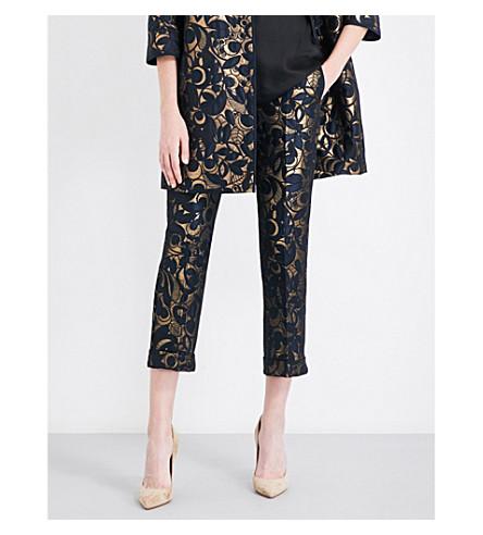 S MAX MARA Nardo floral-jacquard pants (Gold