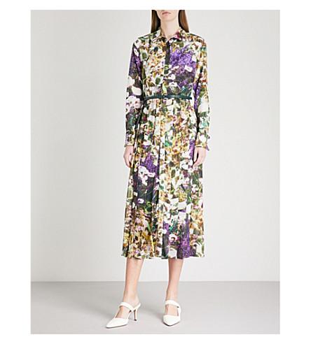 MAX MARA Nativa pleated silk-crepe de chine midi dress (Green+botanic+print