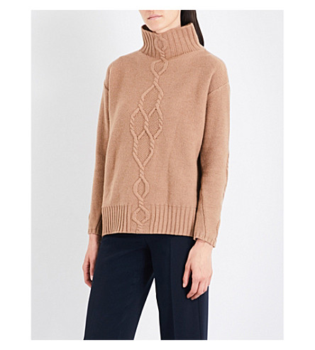 S MAX MARA Navata turtleneck wool and cashmere-blend jumper (Camel