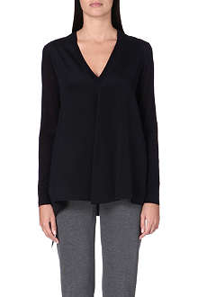 SPORTMAX Nella long-sleeved silk top