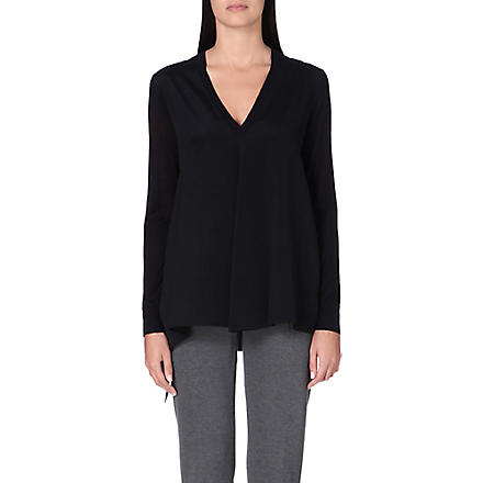 SPORTMAX Nella long-sleeved silk top (Navy